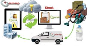 stock nettoyage produits connecté